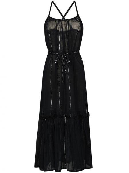 Брендовое прямое черное платье миди Lemlem
