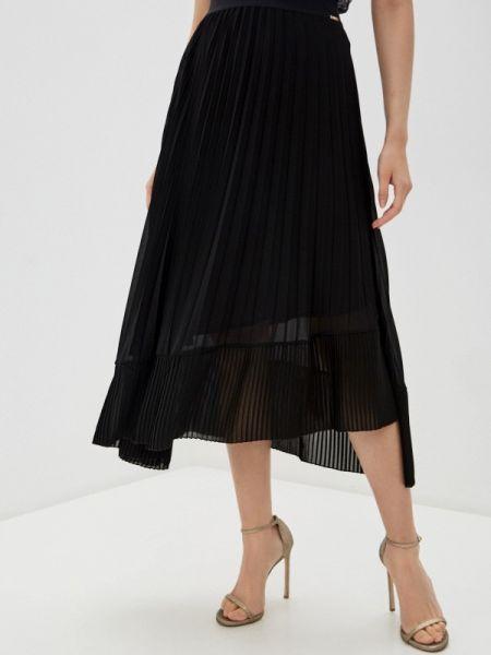 Плиссированная юбка весенняя черная Liu Jo