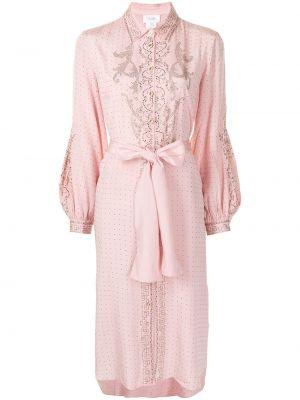 Платье макси с длинными рукавами - розовое Camilla