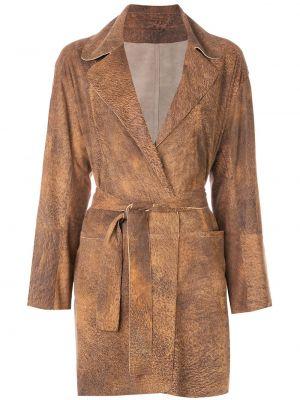 С рукавами коричневое кожаное пальто с запахом с поясом Sylvie Schimmel