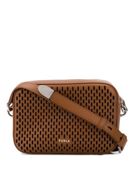 Коричневый кожаный ремень с поясом с заплатками Furla