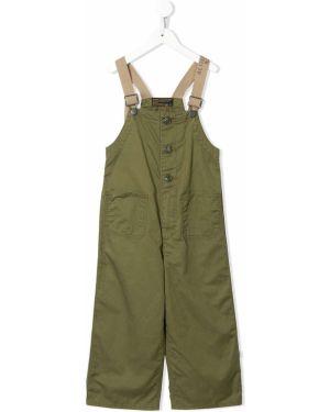 Зеленый комбинезон с карманами на бретелях на пуговицах Denim Dungaree