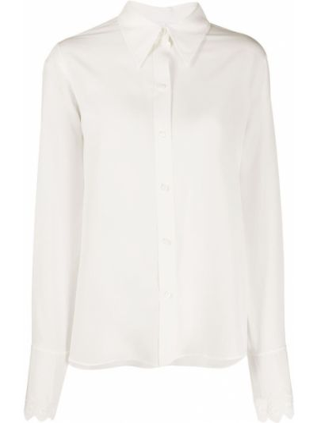 Шелковая прямая рубашка с воротником на пуговицах Chloé