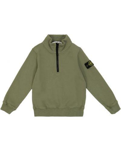 Хлопковый свитшот - зеленый Stone Island Junior