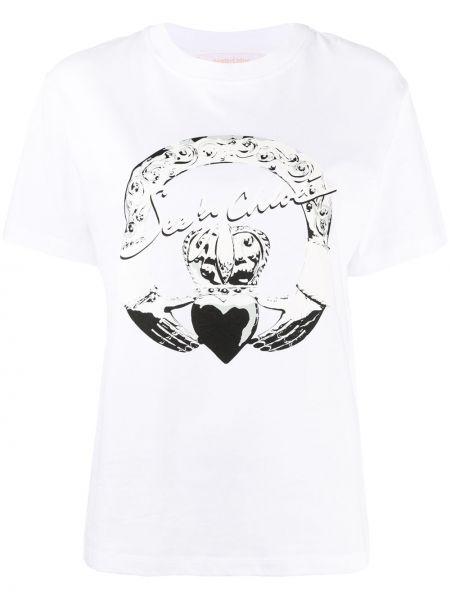 Ватная хлопковая белая рубашка с коротким рукавом с короткими рукавами See By Chloé