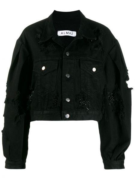 Черная джинсовая куртка на пуговицах Almaz