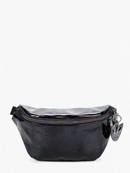 Кожаная лаковая черная поясная сумка Adidas Originals