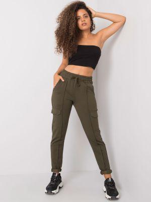Spodnie materiałowe khaki Fashionhunters