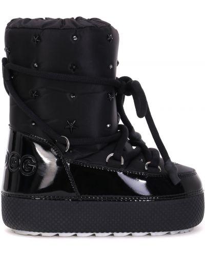 Лаковые черные сапоги-луноходы на шнуровке Jog Dog