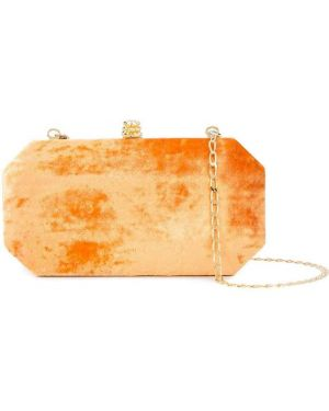 Бархатная золотистая желтая сумка на цепочке Tyler Ellis