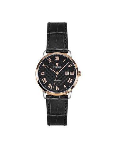 Часы на кожаном ремешке кварцевые швейцарские Wainer
