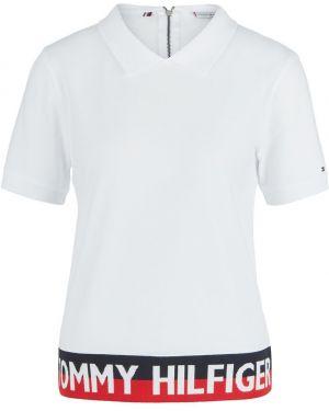 Хлопковое футбольное белое поло на молнии Tommy Hilfiger