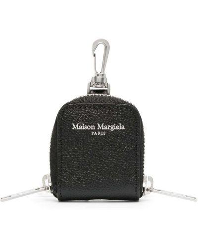 Черный кожаный брелок на молнии Maison Margiela