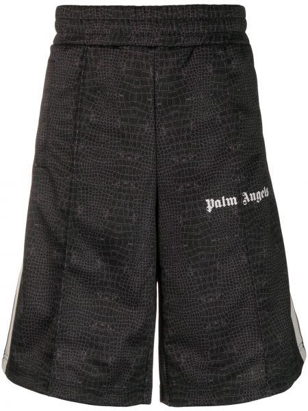 Czarny szorty z kieszeniami z paskami Palm Angels