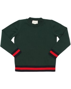Prążkowany zielony sweter bawełniany Gucci