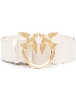 Золотистый белый кожаный ремень Pinko