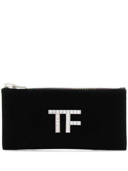 Черная сумка на молнии прямоугольная из вискозы Tom Ford