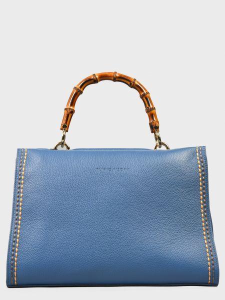 Кожаная сумка - синяя Plinio Visona'