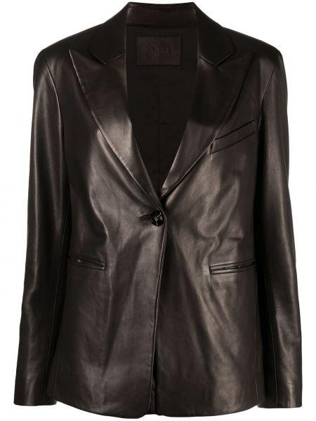 Однобортный черный кожаный удлиненный пиджак Drome