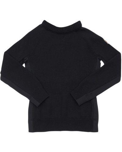 Prążkowany czarny sweter wełniany Moncler Grenoble