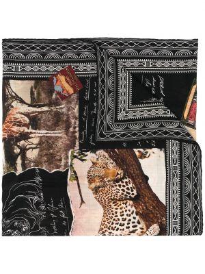 Черный шелковый шарф с вышивкой Ralph Lauren