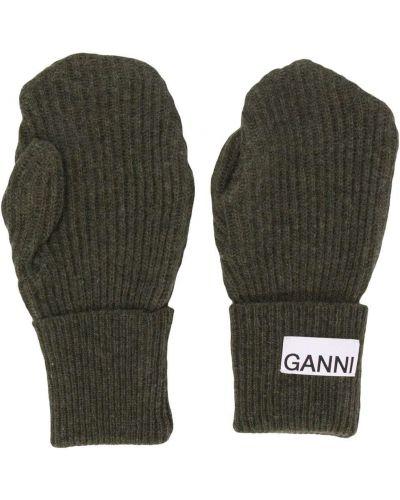 Zielony wełniany rękawiczki z łatami Ganni