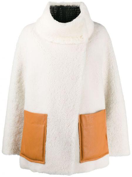 Оранжевая прямая длинная куртка с карманами из овчины Dorothee Schumacher