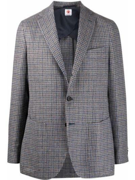 С рукавами синий шерстяной пиджак с воротником Borrelli