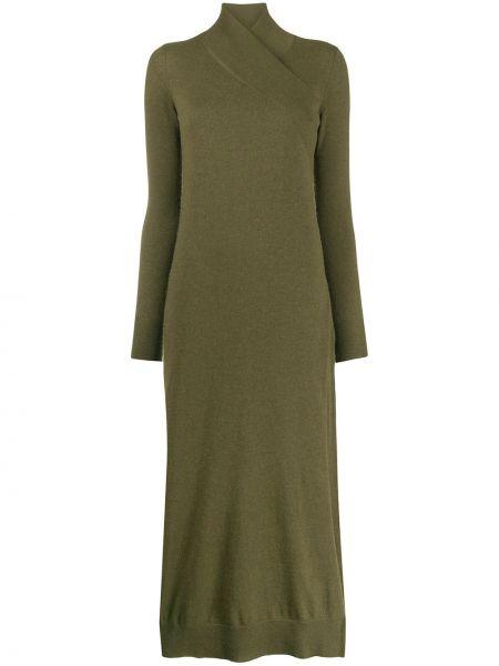Вязаное платье макси - зеленое Agnona