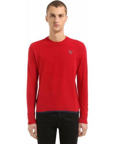 Prążkowany z kaszmiru sweter z haftem Coach