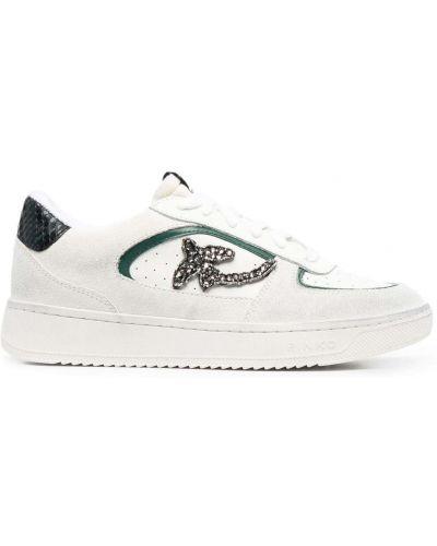 Кожаные белые кроссовки на шнурках Pinko