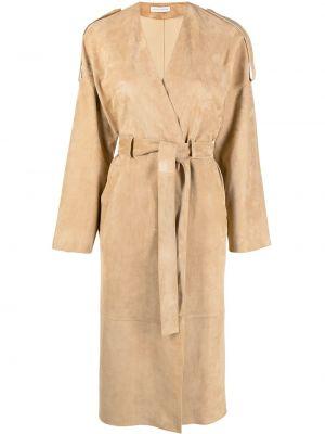 Длинное пальто с запахом с поясом с вырезом Inès & Maréchal