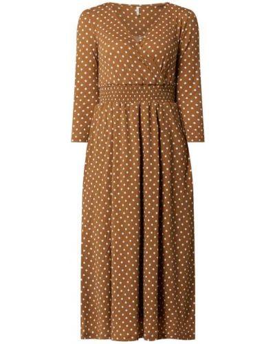 Brązowa sukienka rozkloszowana w grochy Only