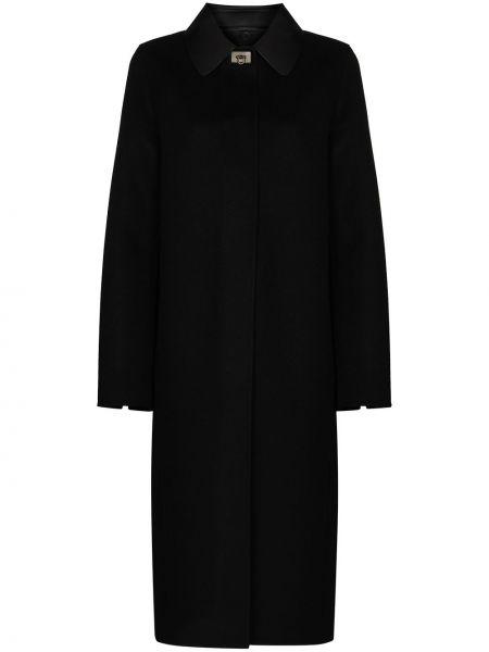 Черное кашемировое пальто классическое с воротником Salvatore Ferragamo