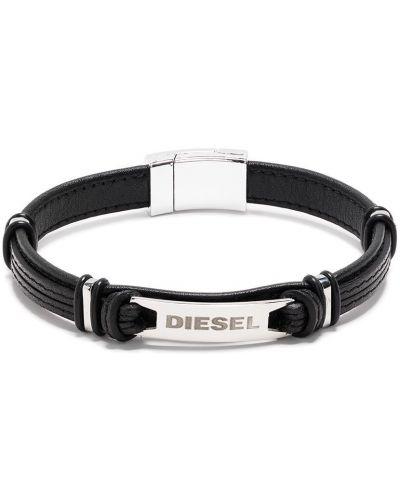 Кожаный серебряный браслет Diesel