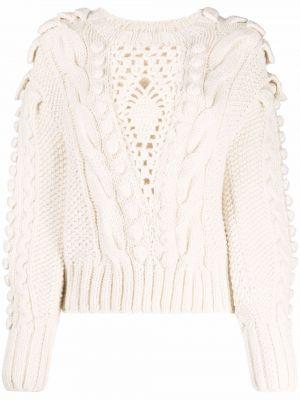 Biały sweter wełniany Ulla Johnson
