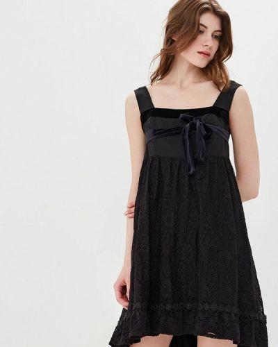 Платье с открытыми плечами черное Bezko