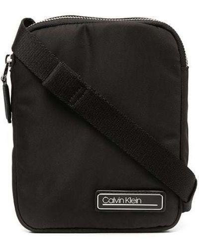 Черная сумка на плечо металлическая на молнии Calvin Klein