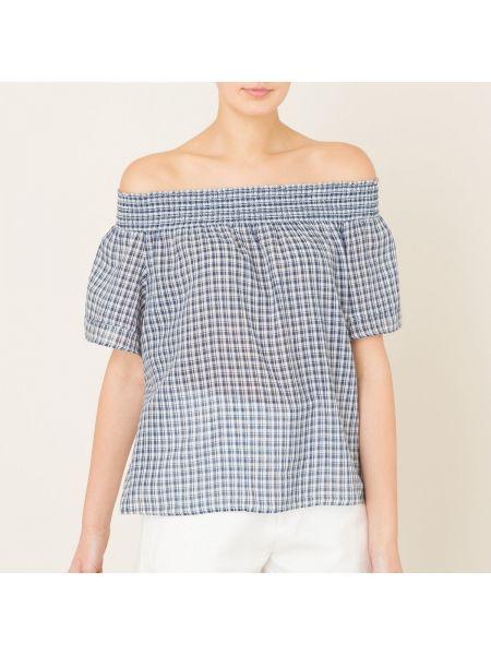 Блузка с открытыми плечами прямая в клетку Denim & Supply Ralph Lauren