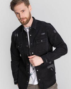 Серая рубашка с карманами на кнопках с воротником Ostin
