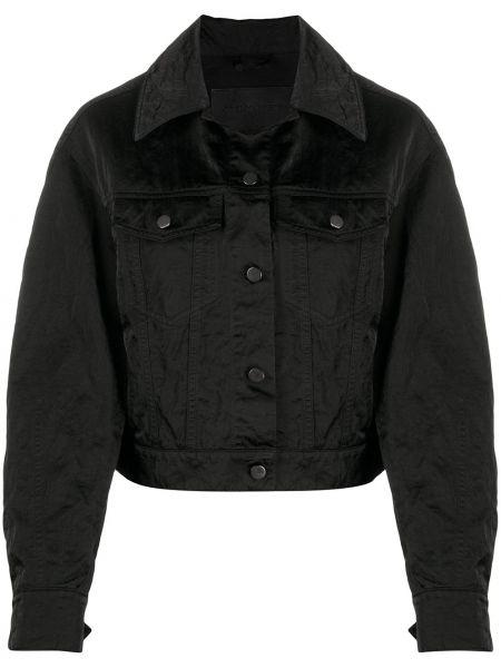 Хлопковая черная джинсовая куртка с воротником Christian Wijnants