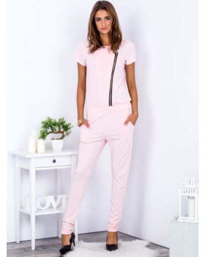 Różowy kombinezon krótki na co dzień materiałowy Fashionhunters