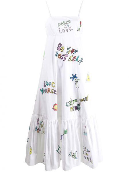 Хлопковое белое платье миди на бретелях Mira Mikati