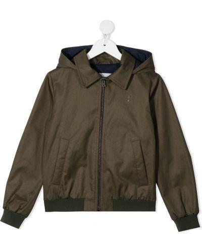 Зеленая ватная длинная куртка с капюшоном Herno Kids