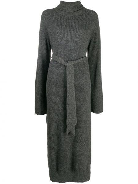 Платье макси с длинными рукавами - серое Nanushka
