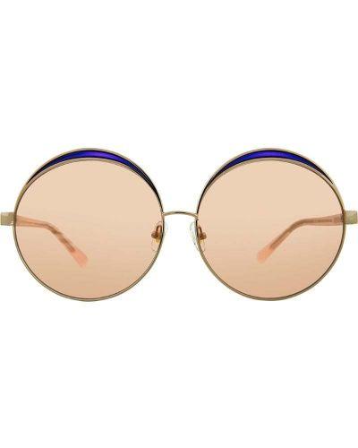 Солнцезащитные очки бежевые круглые N21
