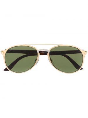Золотистые желтые солнцезащитные очки металлические с завязками Cartier