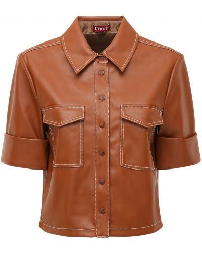 Коричневая кожаная рубашка на пуговицах Staud