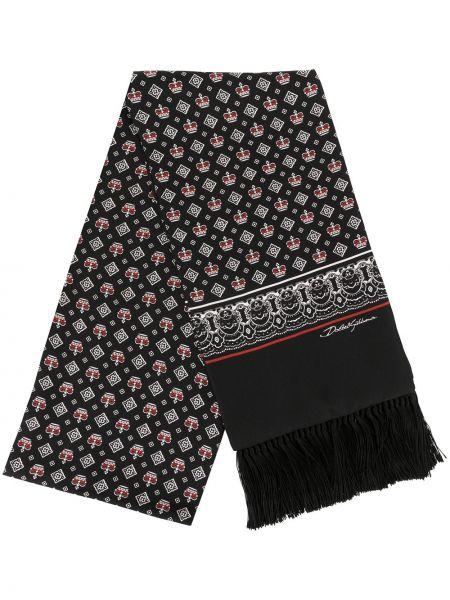 Czarny etola z jedwabiu z printem Dolce And Gabbana