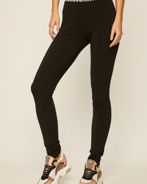 Czarne legginsy bawełniane z printem Moschino Underwear